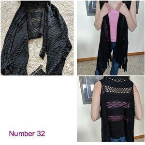 Sweaters - Sleeveless Long Shrug Cardigan